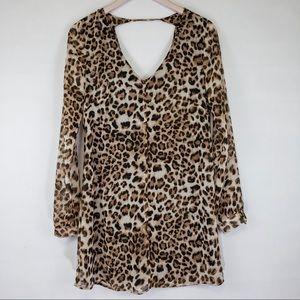 ASTR Animal Leopard Print Low Back Dress